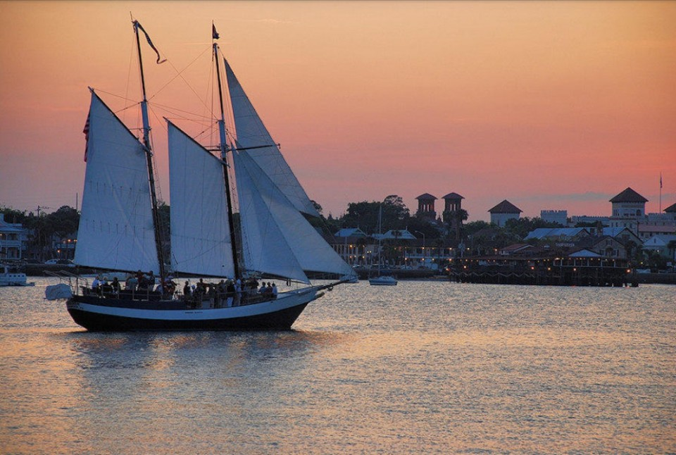 Schooner Freedom sailing in historic downtown St. Augustine, Florida.