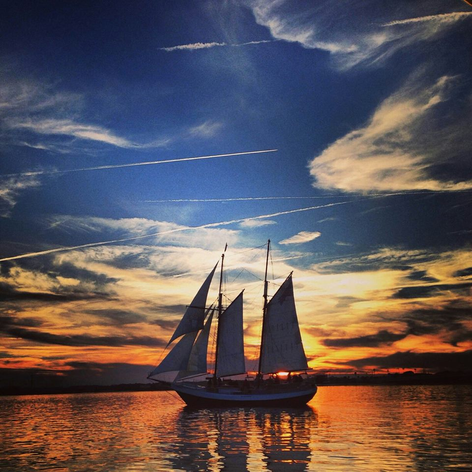 Schooner Freedom sailing on the Matanzas River in St. Augustine, Florida.